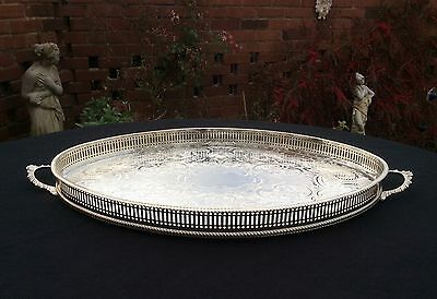 """Fabulous 22"""" ARTHUR PRICE Sheffield Silver Plated Gallery Tray Downton Style"""