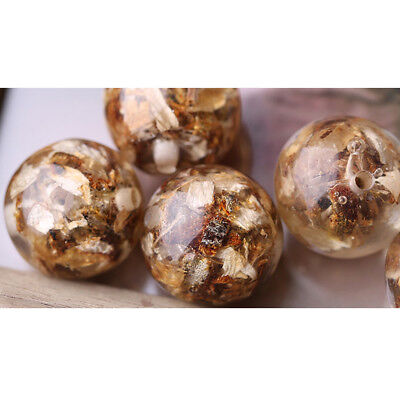 Round Dried Flower Leaves Loose Beads Pendants Charms for DIY Jewelry Making