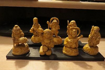 Antique/vintage Set Of 7 Japanese Gods Statues , From The 1940's, Excellant Cond
