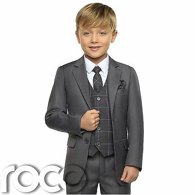 Boys Grey Suits, Boys Grey Check Waistcoat, Page Boy Suits, Boys Wedding Suits