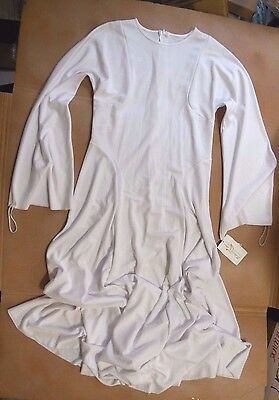 NWT Praisewear Liturgical White Long Bell Sleeve Dress Zipper Back Praise Small