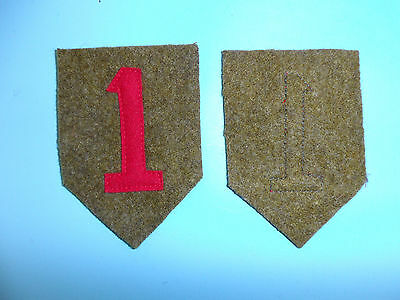 b4307  WW 1 US Army Shoulder patch 1st Division 1 red wool PDC
