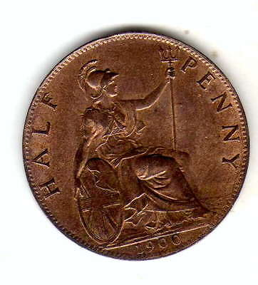 gb halfpenny 1900,uncirculated full lustre