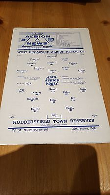 WBA V huddersfield Town Reserves 29.1. 1966 - Central League 4 page issue