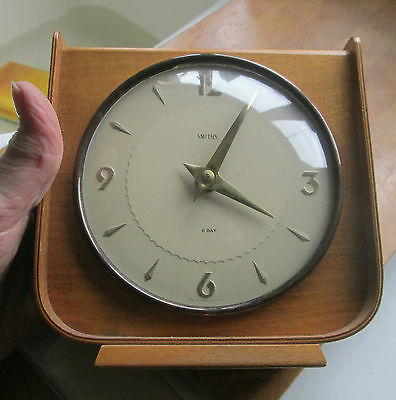 RETRO  c1950`s SMITHS  Teak Cased 8 Day  Mantel Clock