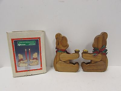 Vintage Christmas Around The World Wooden Teddy Taper USED IN BOX