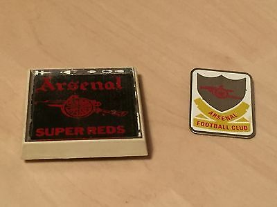 2 x Vintage Arsenal Football Clubs Badges - 4cm x 4cm Super Reds Mirror Badge