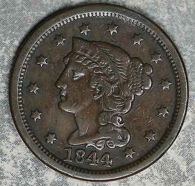 1844 Braided Hair Large Cent!!  VF/XF Condition Coin!!