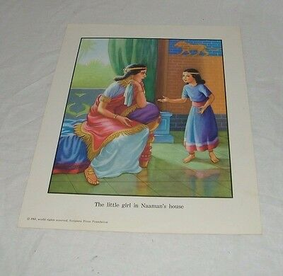 Vintage Religious Print The Little Girl in Naamans House Signature Press 19600