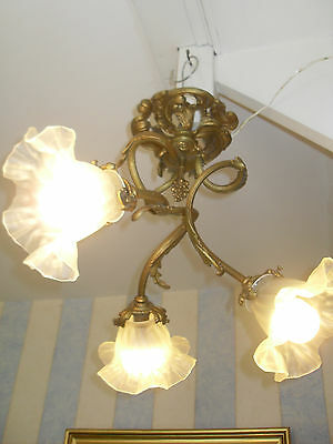 Antique French Rococo Bronze Chandelier Light Lamp 1900 Lustre Rocaille