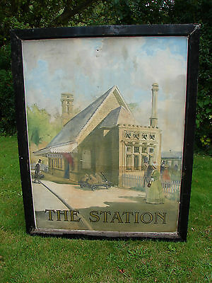 GWR Sign Pub Art The Station Railway Large Vintage Hand Painted UK Shipping