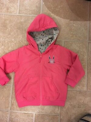 Next Girls Pink Reversible Pink Bunny Coat Jacket 2-3 New Waterproof