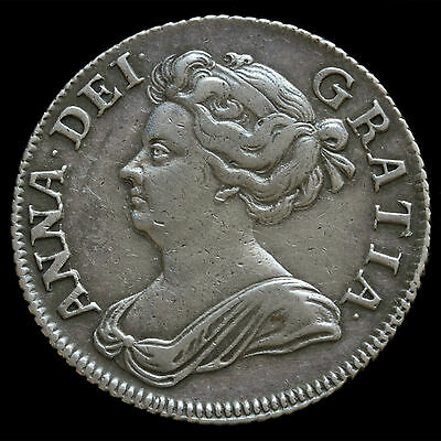1708 Queen Anne Early Milled Silver Shilling, Third Bust, Plain Angles