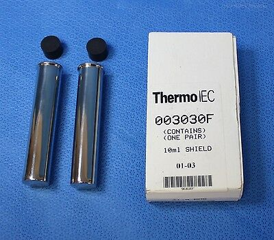 """Thermo IEC 2 each 10 mm Stainless Steel Centrifuge Tube Shield 3.75"""" 003030F"""