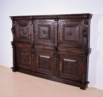 *Antique French 6 Door Cabinet Facade in Solid Oak Wood with Lions