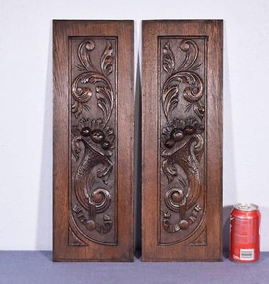 *Pair of French Antique Hand Carved Panels in Oak Wood Salvage