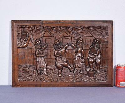 *French Antique Carved Panel Solid Oak Wood Door with People Dancing Salvage
