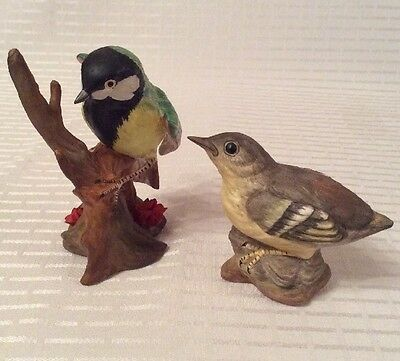 Crown Staffordshire Bone China J.Bromley Great Tit & Grey Wagtail.
