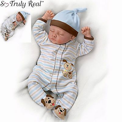 """Ashton Drake """"Sweet Dreams Danny"""" Weighted Newborn Poseable Baby Doll"""
