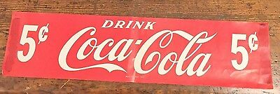 Vintage 1920's COCA COLA PAPER WINDOW SIGN FROM OLD SODA FOUNTAIN PIEDMONT WV