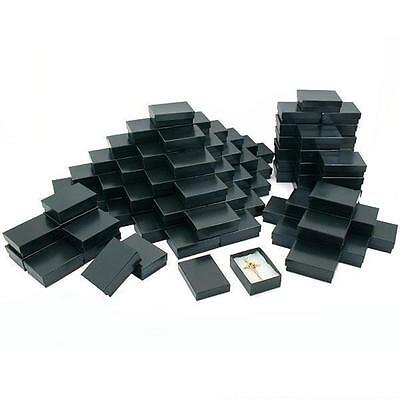 100 Black Stripe Cotton Filled Jewelry Gift Box 3 1/4""