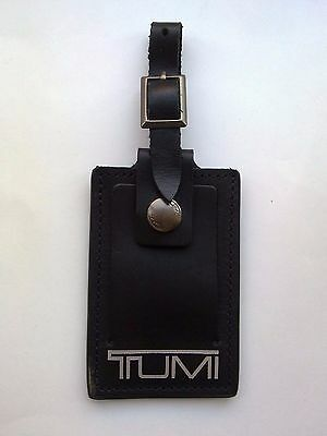 1 x TUMI LEATHER LUGGAGE I.D. BAG TAG (BLACK with SILVER WRITING)