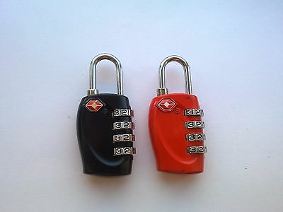 2 x 4 DIAL TSA APPROVED COMBINATION LUGGAGE LOCKS (BLACK, RED)