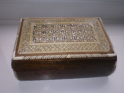 Beautiful Vintage Mother of Pearl Inlay Wooden Box with Hinged Lid