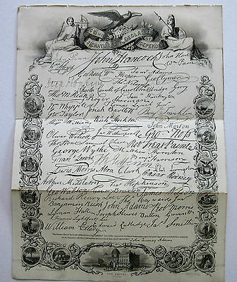 """19th Century Steel Engraving - """"Signatories to the Declaration of Independence"""""""