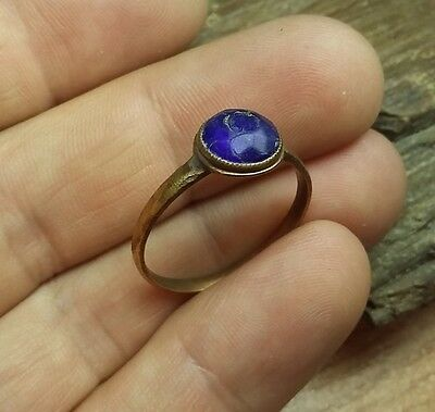Old Antique Medieval Ring With Blue Glas ,Wearable #2220