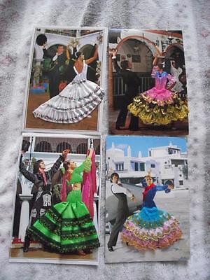 4 x EMBROIDERED SILK POSTCARD SPANISH FLAMENCO DANCERS REAL PHOTOS LOT B