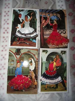 4 x EMBROIDERED SILK POSTCARD SPANISH FLAMENCO DANCERS REAL PHOTOS LOT C
