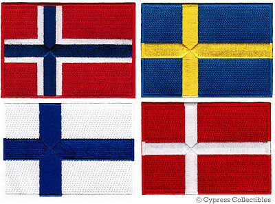 FOUR SCANDINAVIA FLAG PATCHES embroidered iron-on DENMARK NORWAY SWEDEN FINLAND