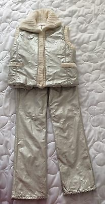 Laura Biagiotti Dolls girls light gold leather look trousers and gilet set Age 8