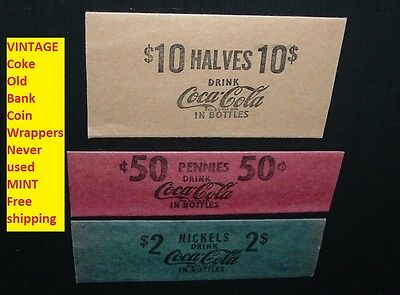 Lot 3 Old Coca Cola Soda Pop Coke Bank Coin Wrappers 1cent  5 cent 50 cent mint