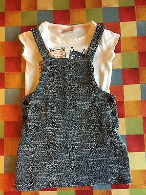 Girls Next Sparkly Pinafore Dress And Tshirt Set 3 4 Years