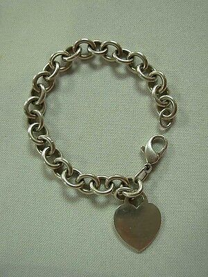 Vintage Tiffany & Co Sterling Silver Plain Heart Tag Charm Bracelet ~ 7.5""
