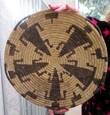 LARGE Antique Native American Indian Basket Arizona Papago Indian Tray Pre 1930