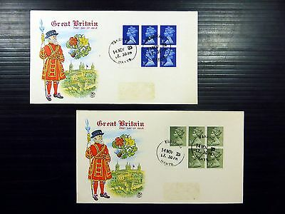 GB 1973 Machin 3p & 3½p Booklet Panes on 2 FDC's NEW PRICE FP8506
