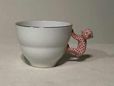 Herend Monkey Handled Cup Red Fishnet NEW 2765-0-91 SENF-19