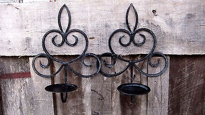 Vintage Distressed Iron Wall Sconce Pillar Candle Holders Home & Garden Lights