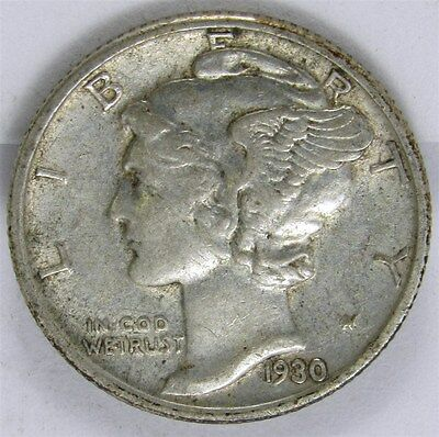 1930-S Mercury Dime 10c Silver - XF - Extremely Fine