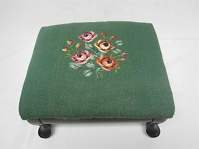 VINTAGE HAND STITCHED NEEDLEPOINT FOOTSTOOL ~ GREEN w FLOWERS