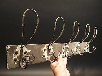 Antique Vintage Style Wall Mount Coat Hat Rack Metal Wire Hooks Old Paint