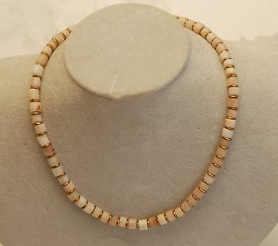 """ANCIENT ROCK QUARTZ Crystal Cylinder Stone Beads Necklace_17"""" Long"""