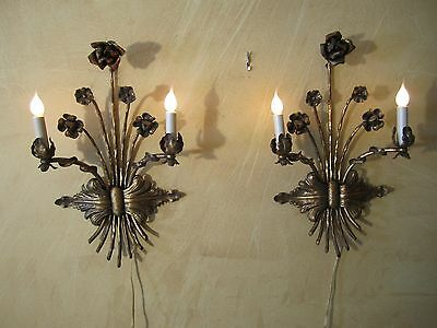 "Vtg Hollywood Regency Italian Gilt Tole ROSE&BOW 21""x13"" WALL SCONCE Light Lamp"