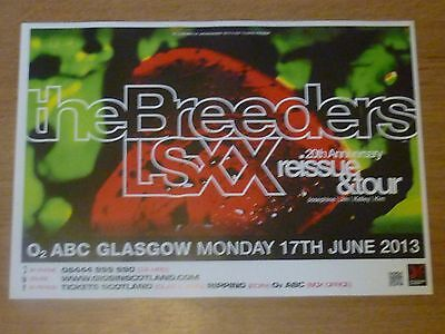 The Breeders Glasgow 2013 tour concert gig poster