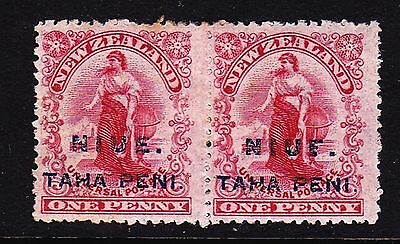 "Niue 1902 1d o/p mint pair SG 9 one with BROKEN ""E""  in surcharge (see desc)"