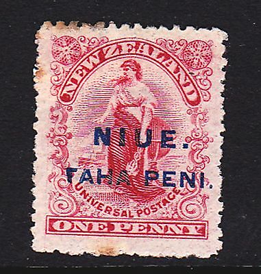 "Niue 1902 1d o/p mint SG 9 with REVERSED ""7"" FOR T in surcharge (see desc)"