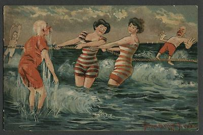1909 DONADINI JR. DRESDEN, Risque (for its time) Bathing Beauties Postcard